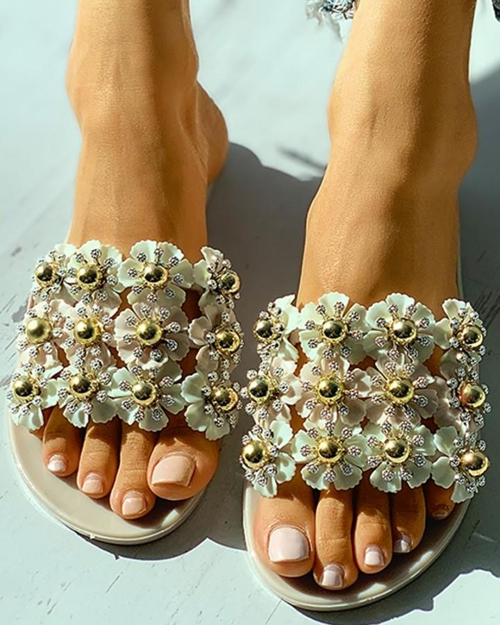 Floral Pattern Beaded Open Toe Flat Sandals