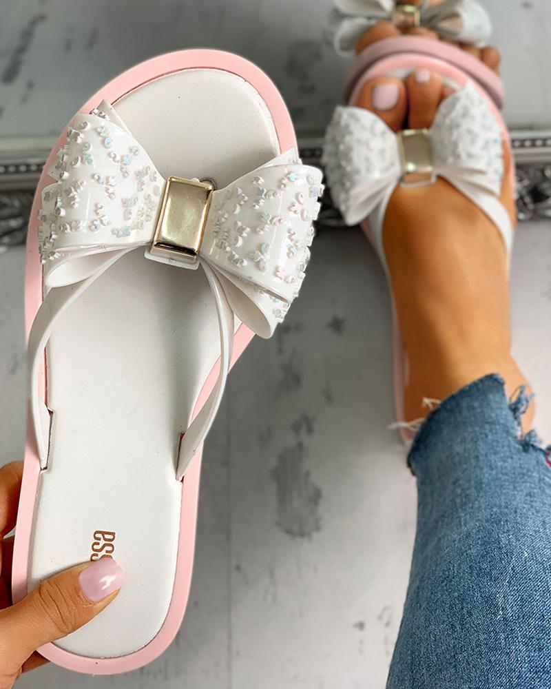 Bowknot Design Flat Slipper Sandals