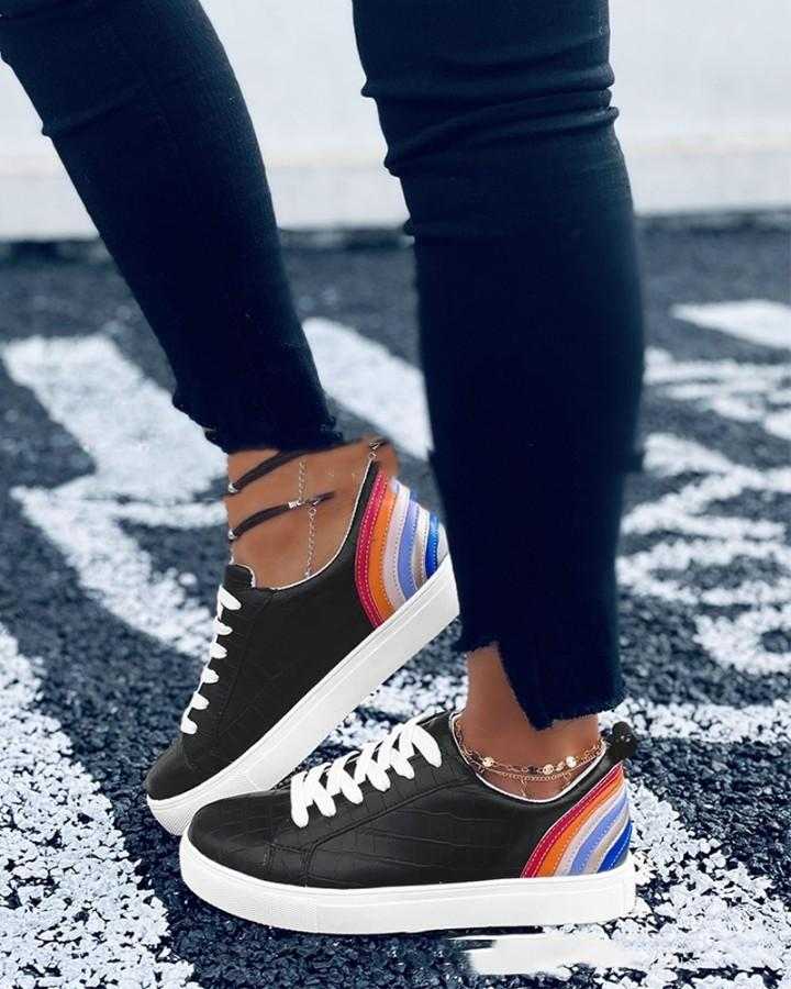 Solid Color Splicing Rainbow Color Crocodile Pattern Round-toe Lace-up Sneakers