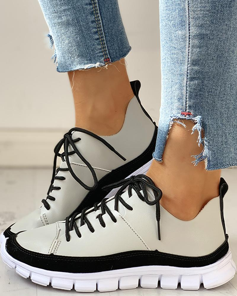 Lace-Up Suede Insert Sneakers
