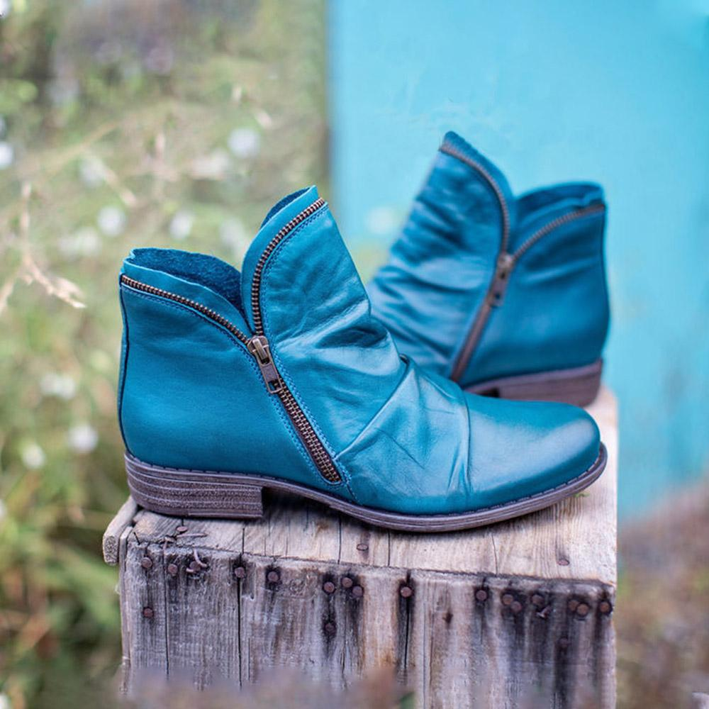 Women PU Leather Ankle Boots Vintage Women Boots