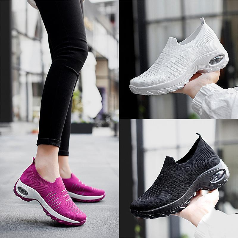Women's shoes lace-up air cushion fly-woven sneakers fashion shake shoes casual shoes