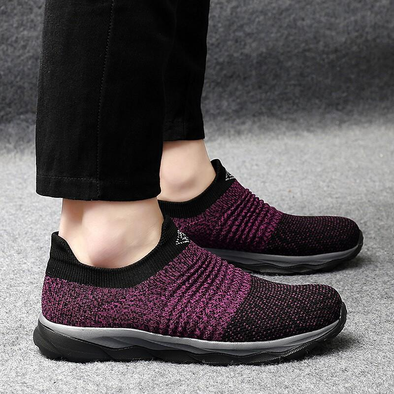 Women's elastic slip-resistant breathable slip-on leisure shoes