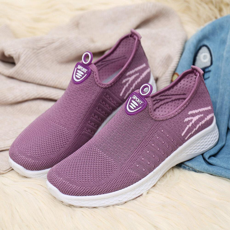 Women's Big Size Running Mesh Comfy Flyknit Outdoor Sneakers Casual Shoes