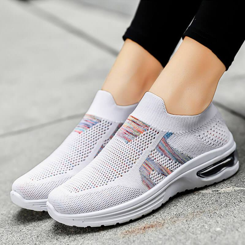 Women's Comfy Flyknit Fabric Hit Color Slip On Breathable Platform Sneakers