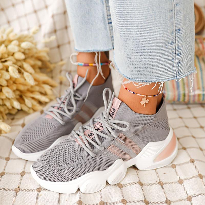 Women's Flyknit Fabric Slip On Flat Heel Sneakers