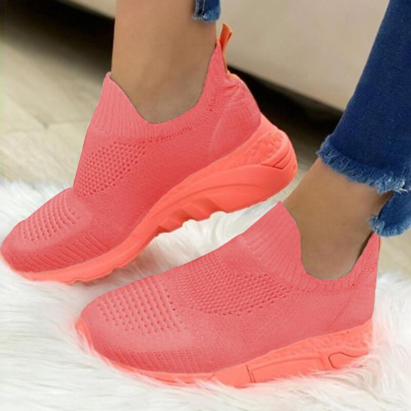 Women Slip On Fabric Round Toe Athletic Sneakers