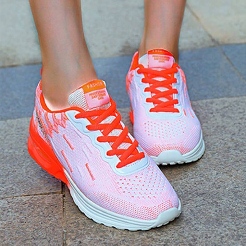 Women's Gorgeous Flyknit Fabric Hit Color Lace Up Air Cushion Sneakers
