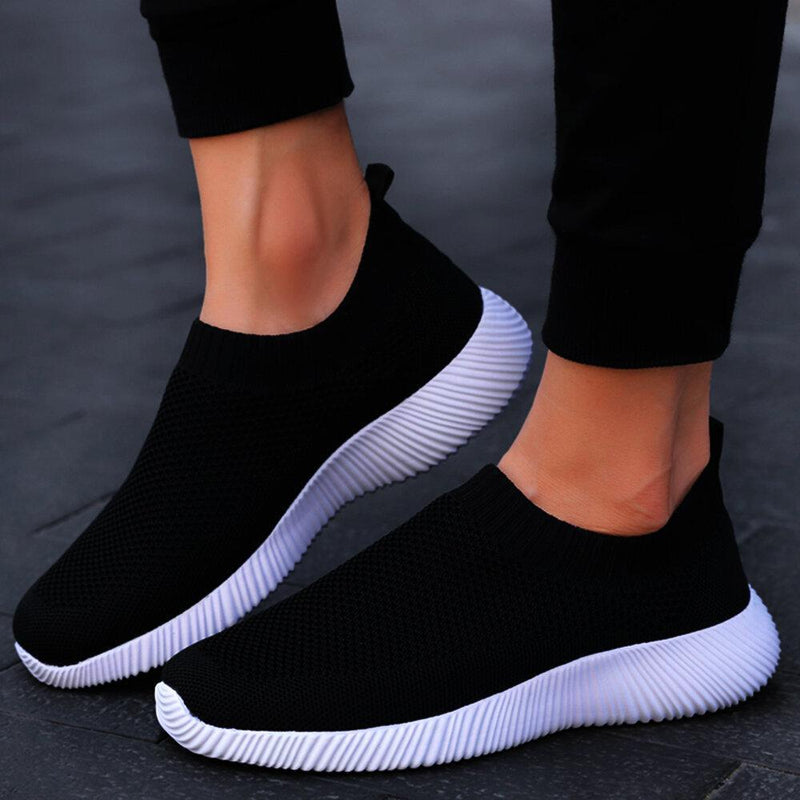 Women Plus Size Walking Breathable Air Mesh Knit Slip On Sneakers Trainers Shoes