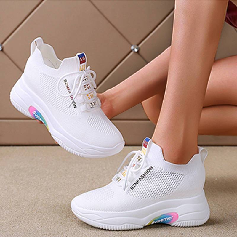 Women's Comfy Flyknit Fabric Breathable Lace Up Wedge Heel Sneakers
