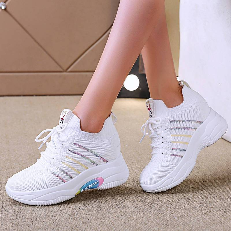 Women's Casual Multicolor Flyknit Fabric Breathable Lace Up Platform Sneakers