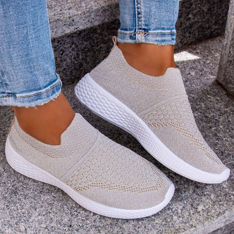 Women's Elastic Flyknit Fabric Slip On Breathable Walking Shoes Platform Sneakers
