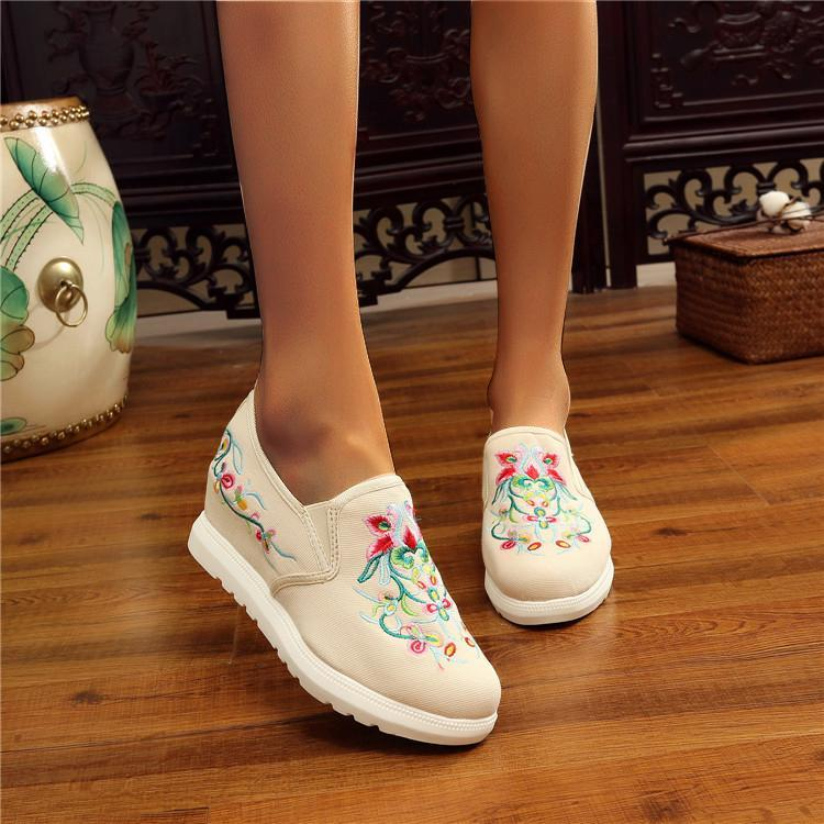 Women's All-match lightweight Embroidered Inner Heightening Floral Shoes