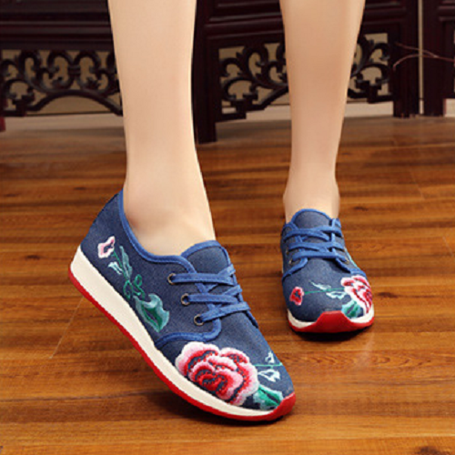 Women's Embroidered Platform Casual PU Sole Lace-Up sneakers
