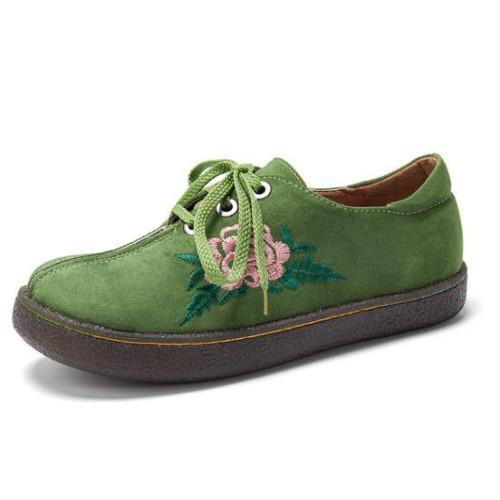 Women Comfy Soft Suede Flower Embroidered Lace Up Flats
