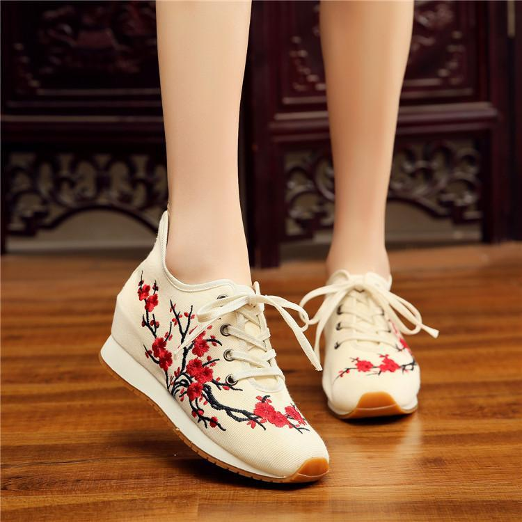 Women's Plum Embroidered Fabric Soft Sneakers