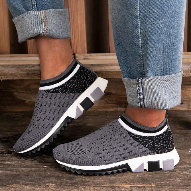 Women's Elastic Flyknit Fabric Slip On Walking Shoes Chic Sneakers