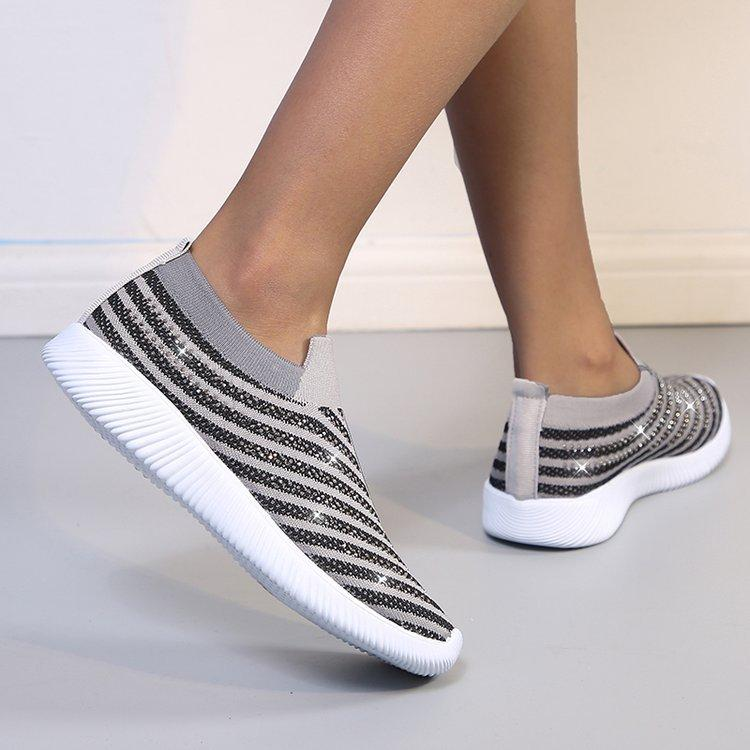 Women's Bling Upper Soft Sole Breathable Casual Fly Woven Sneakers