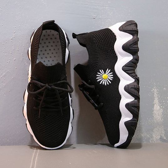 Flying Knitted Daisy Breathable Platform Sneakers