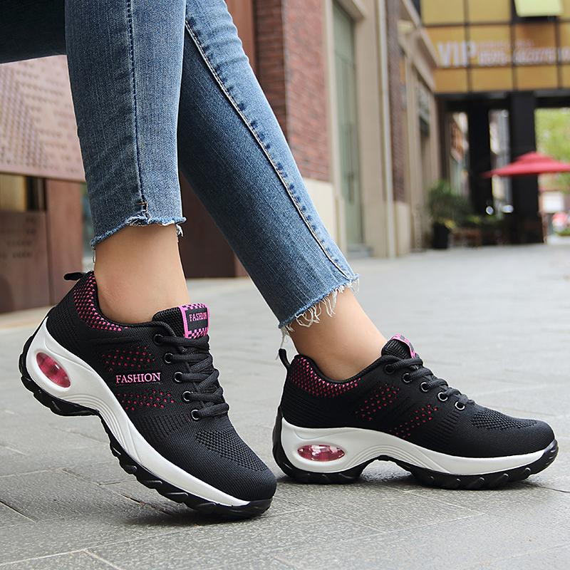 Women Mesh Breathable Lace Up Running Sock Sneakers
