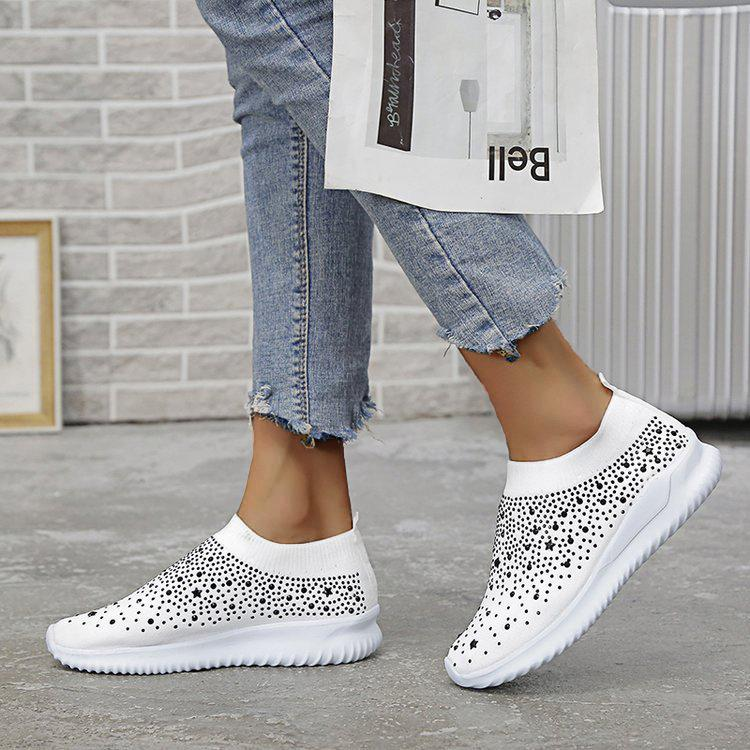 Women's Bling Diamond Flying Woven Lightweight Large Size Sneakers