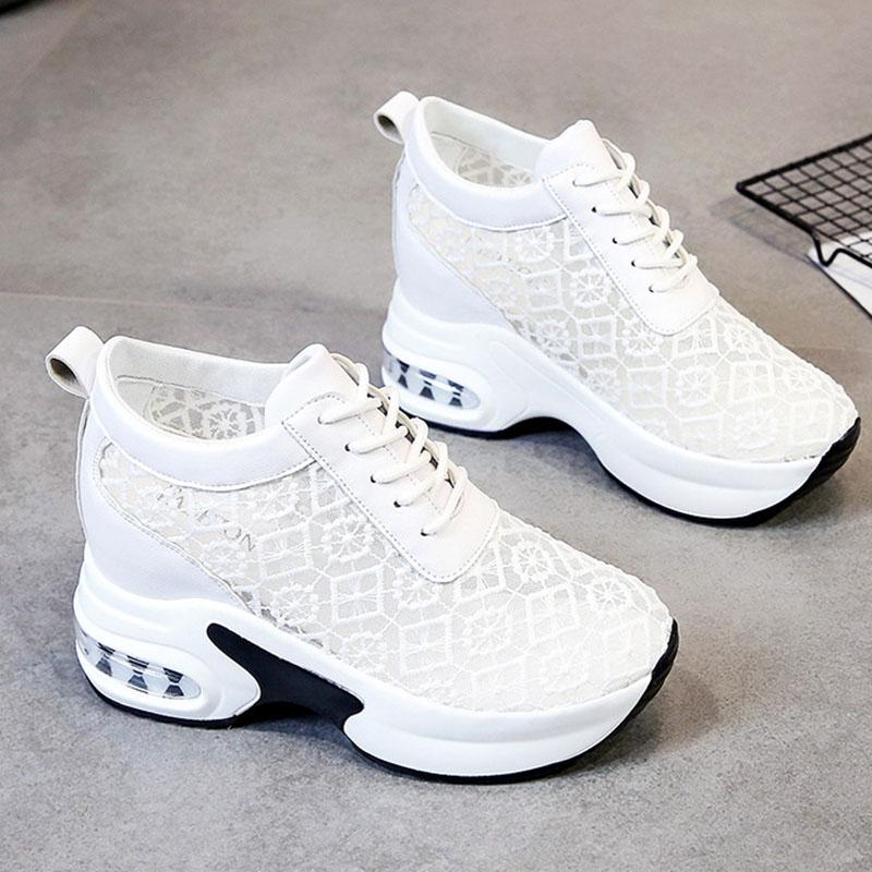 Women's Lace-up Hollow-out Closed Toe Wedge Heel Sneakers