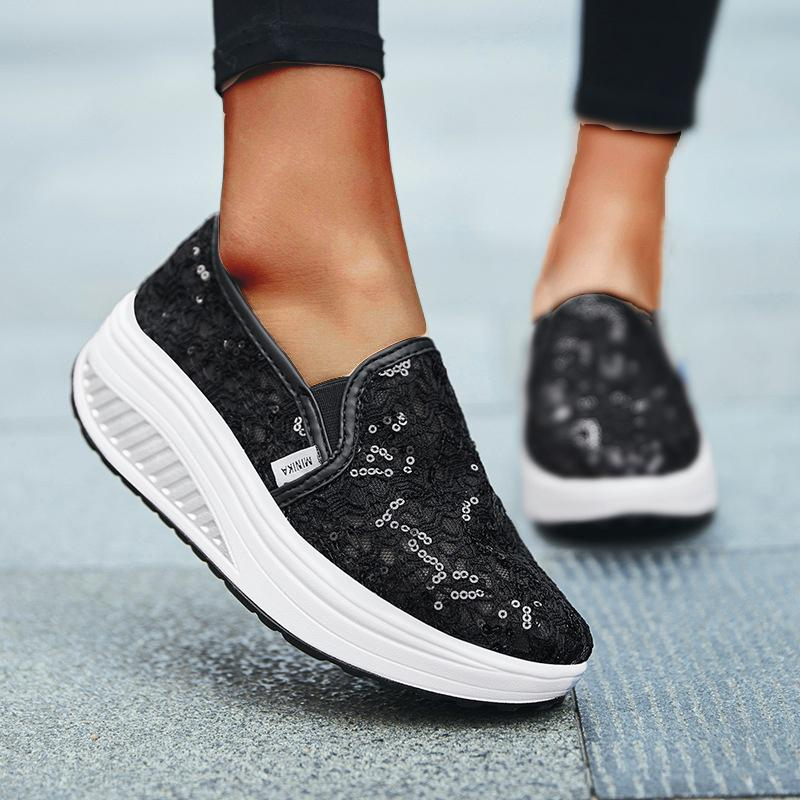Women's Lace Hollow Sequin One-Step Casual Sneakers