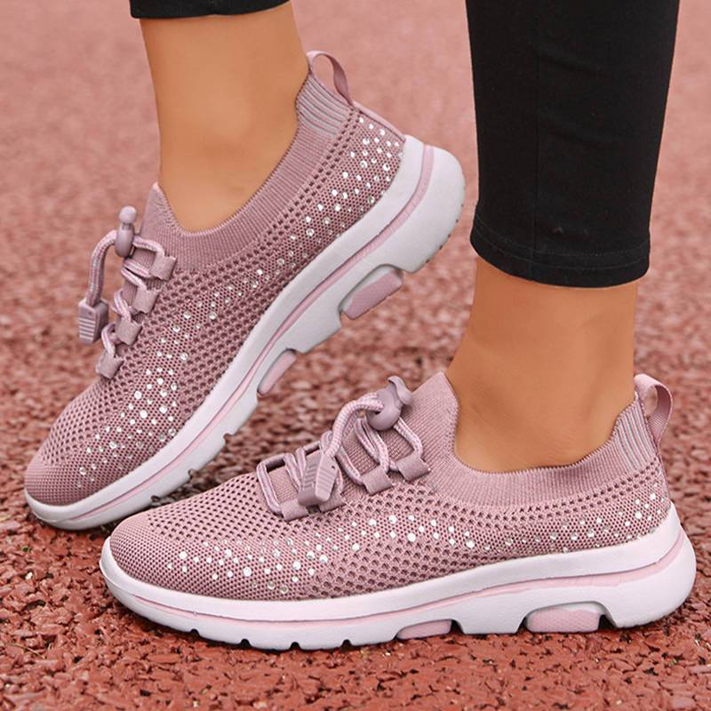 Women's Non-Slip Bling Rhinestone Soft Sole Casual Sneakers