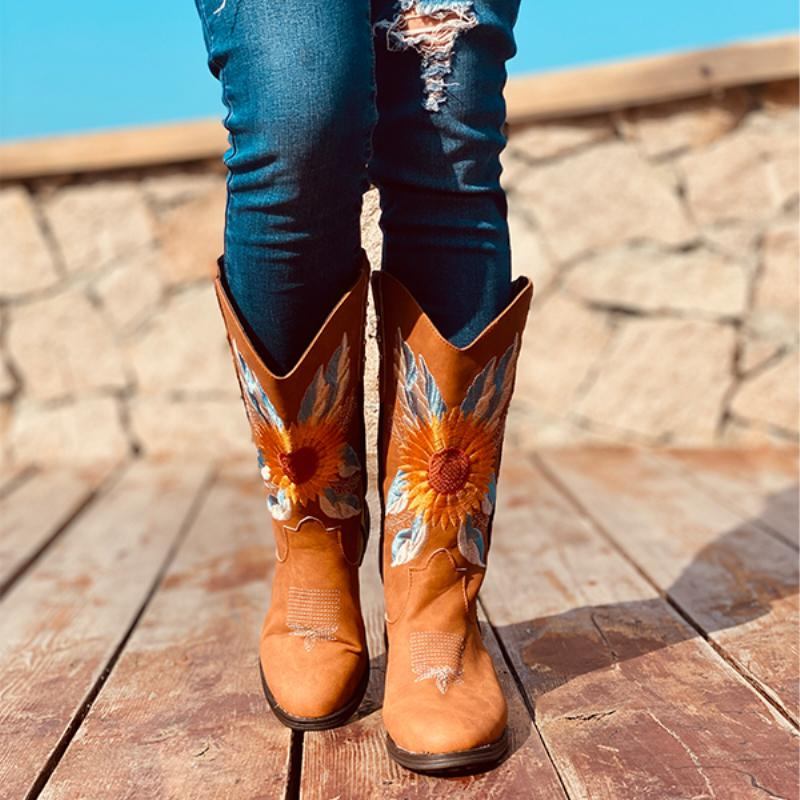 Women's Retro Sunflower Embroidered Cowgirl Boots Mid-Calf Western Boots
