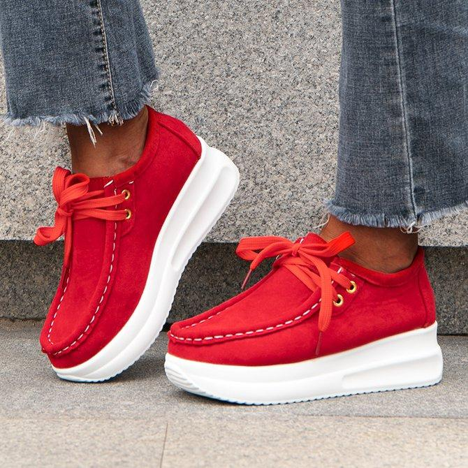 Women's Lace-Up Block Heel Artificial Leather Sneakers