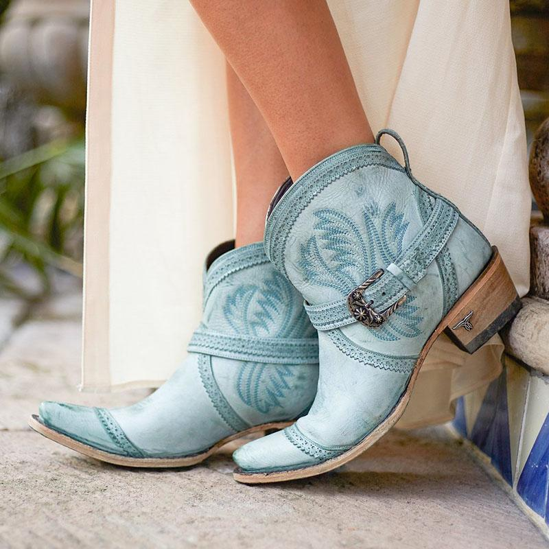 Women's Retro Cowboy Embroidered Western Boots With Buckle