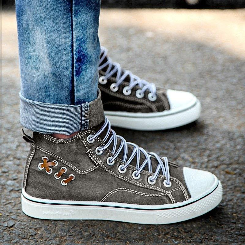 Women's Fashion Casual Denim Wear-Resistant High-Top Sneakers