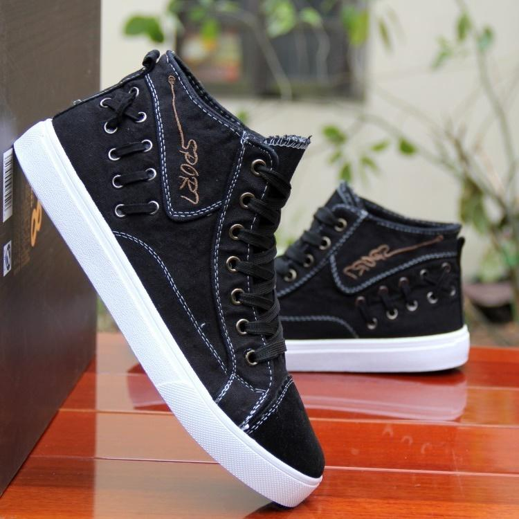 Women's Fashion All-Match  Casual Denim High-Top Lace-Up Sneakers