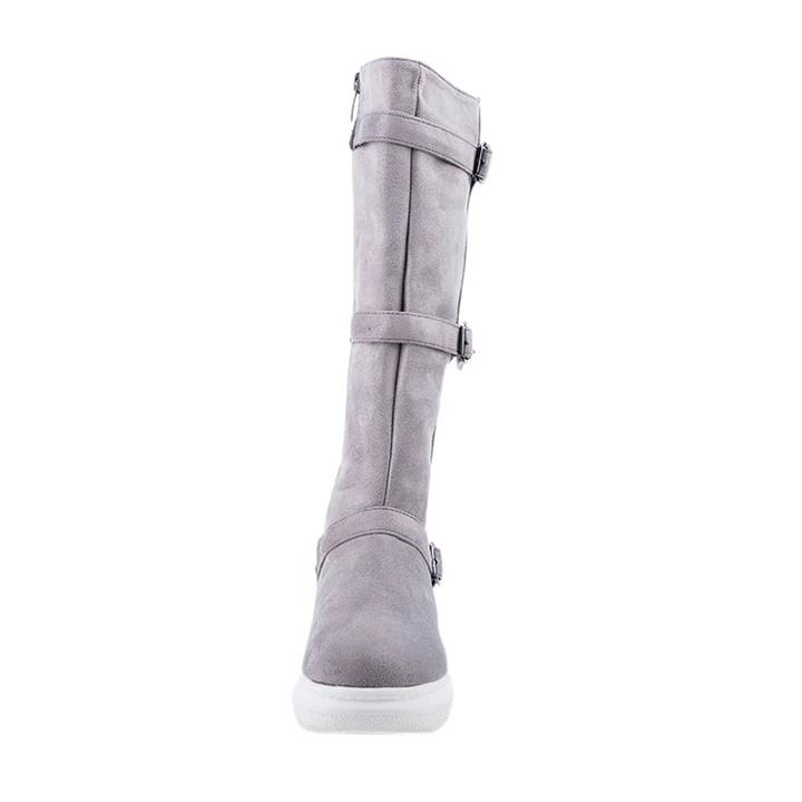 Women's Winter Warm Mid-Calf Snow Flat Boots With Buckles