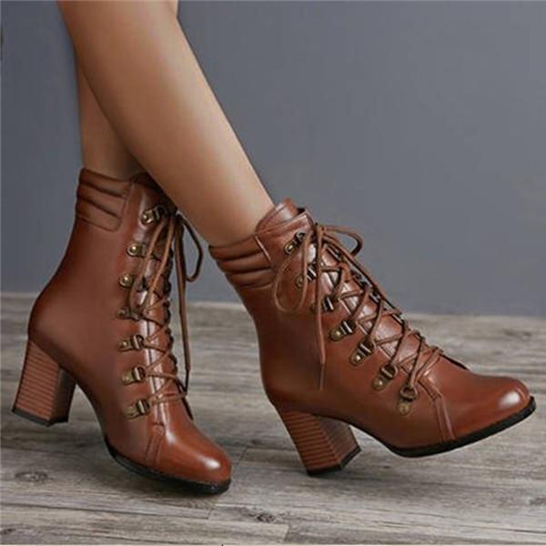Women Vintage Fashion Lace-up Chunky Heel Boots