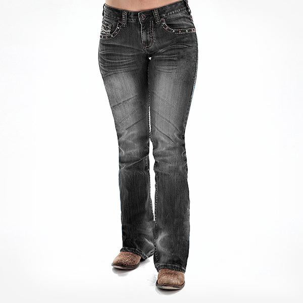 Studded Washed Faded Stretchy Bootcut Jeans