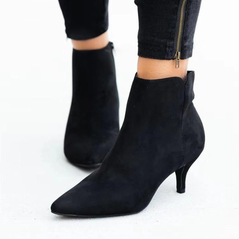 Women Chic Date Pointed Toe Zip Suede Kitten Heel Ankle Boots