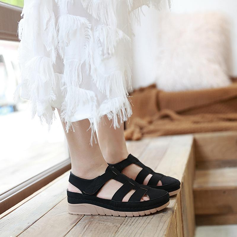 Fashion Casual Vintage Wedge Heels Velcro Sandals