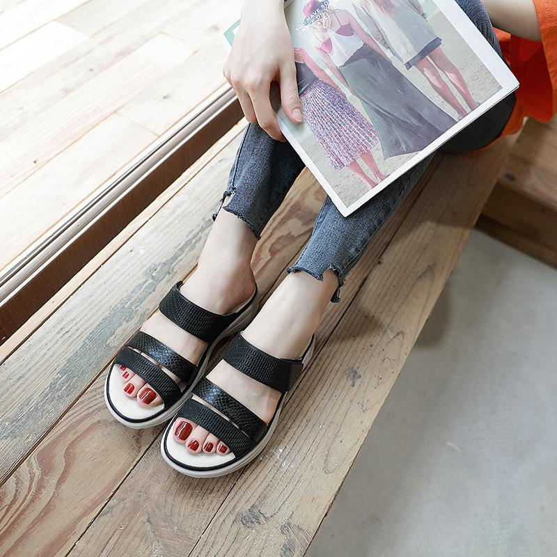 Women Summer Beach Simple Leisure Wedge Heels Sandals