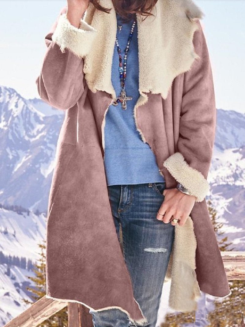 Mid-length Plush Long-sleeved Lapel Frayed Casual Trench Coat
