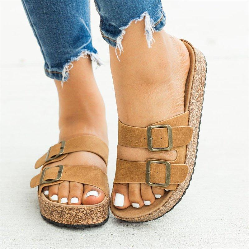 Women Casual Summer Double Buckle Slip On Comfy Sandals