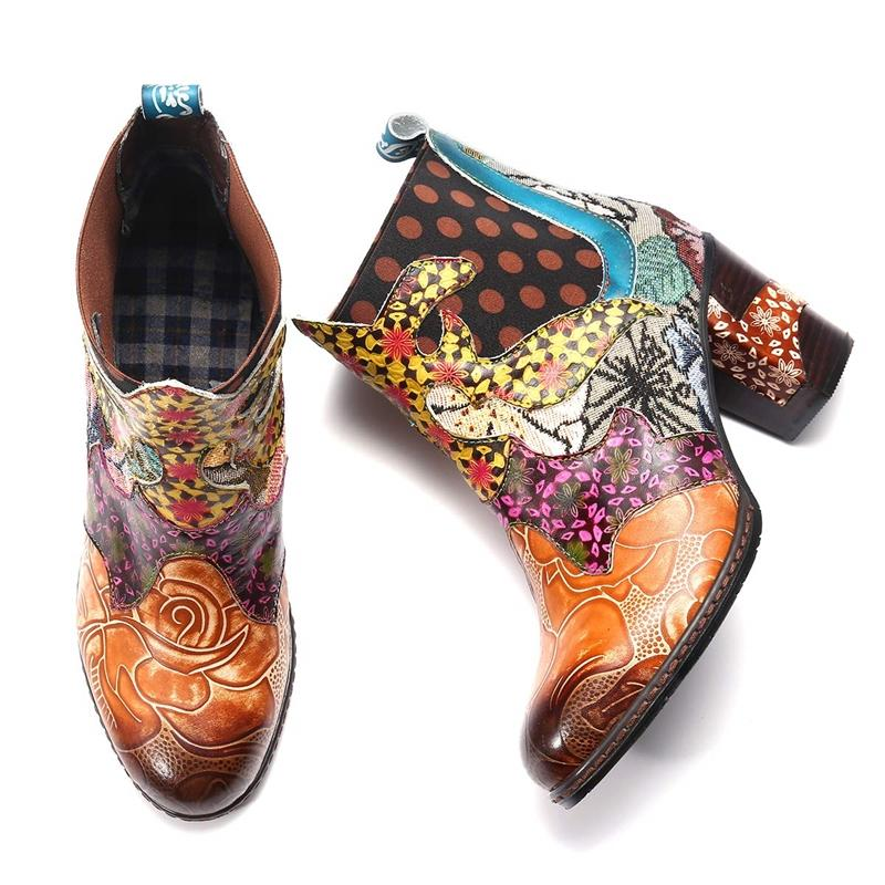 Flower Faux Leather Block Heel Spring Daily Boots