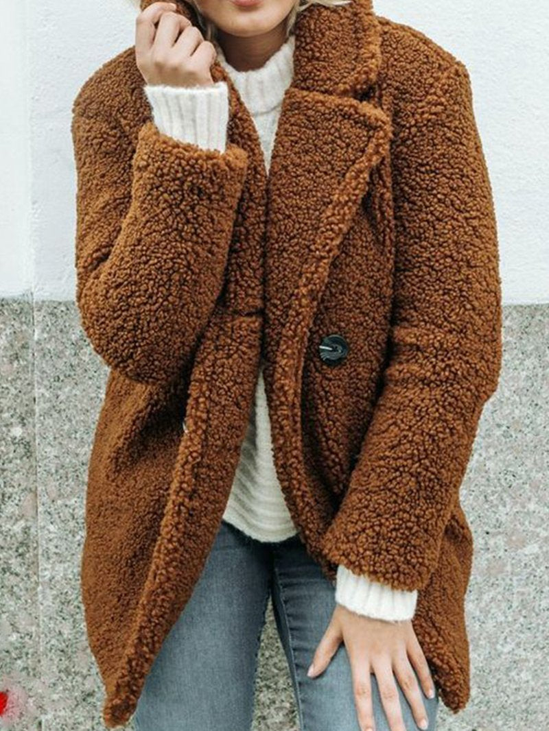 Solid Color Long-sleeved Lamb Wool Coat