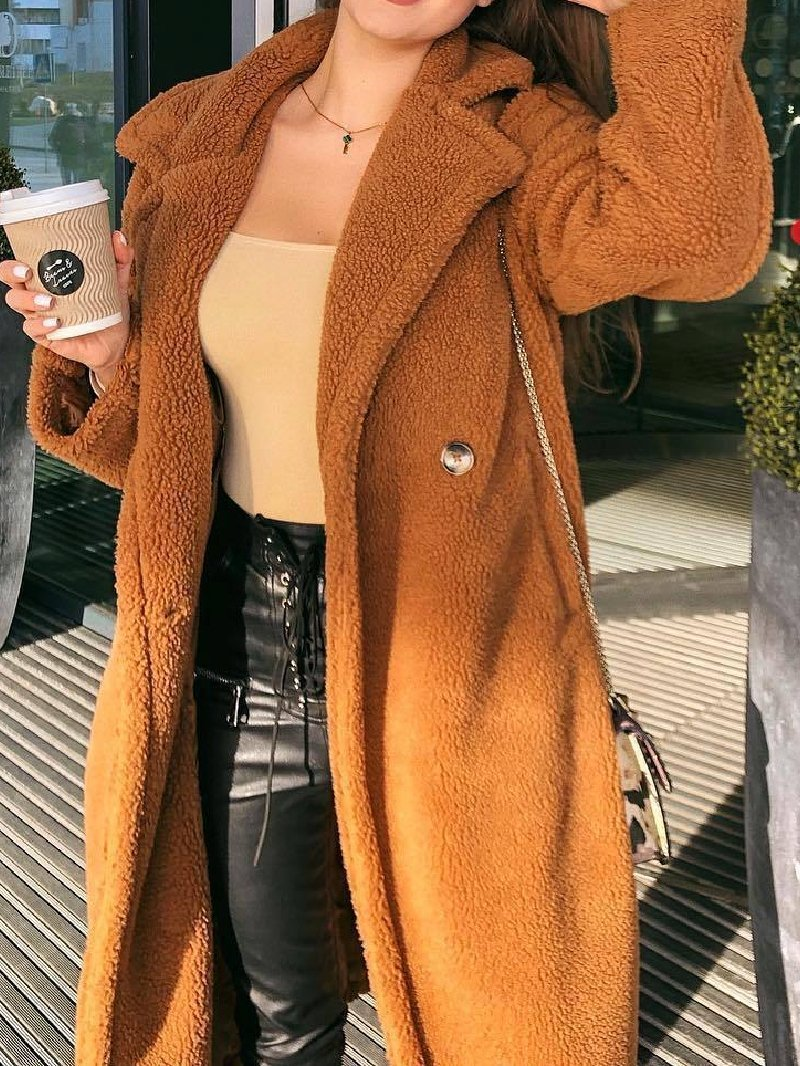 Autumn Winter Fleece Lapel Buttoned Woolen Coat