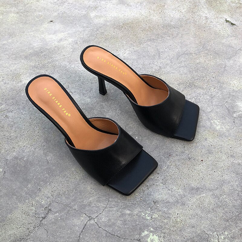 2020 Women Fashion Square Toe Slippers High Heels Sandals