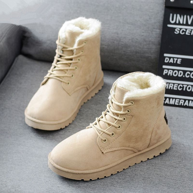 2020 Women Snow Boots Women's Shoes New Flock Fur Suede Ankle Winter Boots
