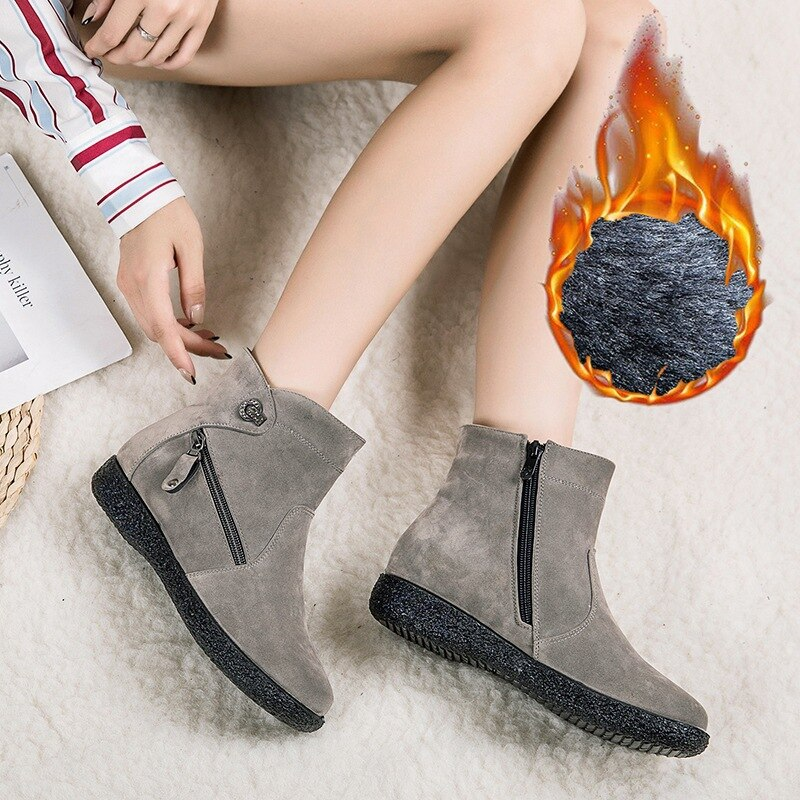 Women's Snow Boots Women Warm Fur Suede Flat Ankle Boot