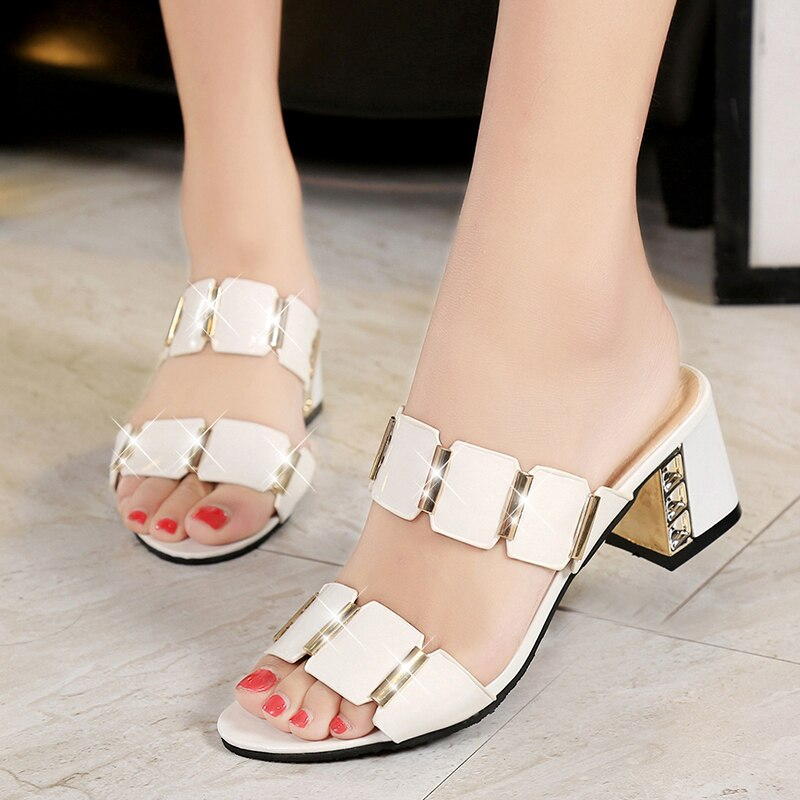 Women Fashion Summer Crystal Sandals Open Toe Heels Ladies Beach Flip Flops Slides