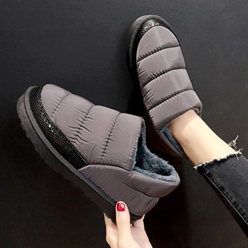 Female Waterproof Plush Snow Boots Comfy Flat With Winter Warm Fur Boots