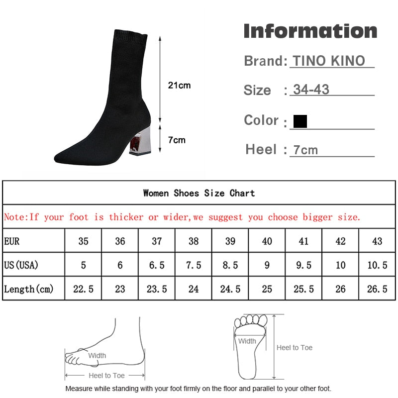 New Autumn Pointed Toe Stretch Knitting Sock Boots High Heels Female Slip-On Lady Shoes